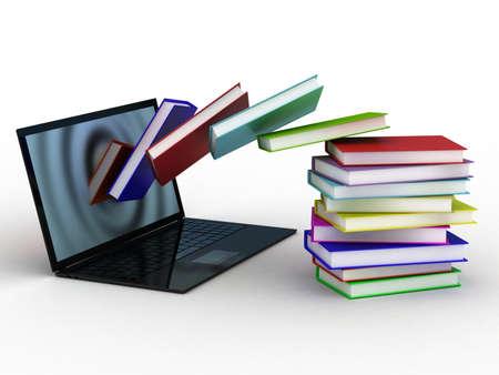 Boeken vliegen op uw laptop Stockfoto