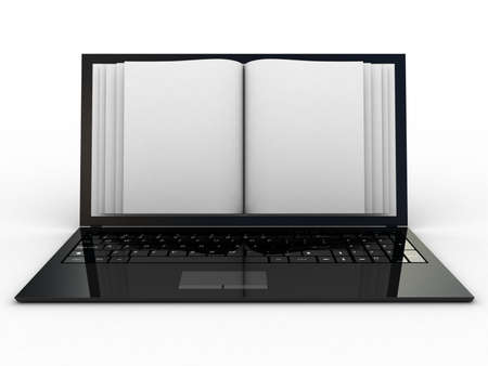 Business paper on laptop. Mobile device concepts 3D. isolated on white Stock Photo - 16845163