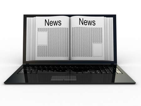 inovation: Business newspaper on laptop. Mobile device concepts 3D. isolated on white
