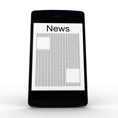 inovation: Business news on smartphone. Mobile device concepts 3D. isolated on white Stock Photo