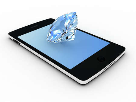 Realistic mobile phone and diamond isolated on white background.