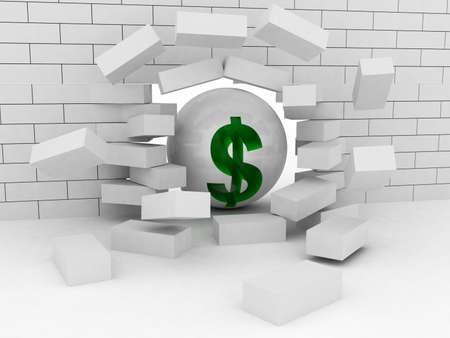 Abstract Illustration of Brick Wall Broken by Wrecking Ball Dollar Stock Illustration - 16845358