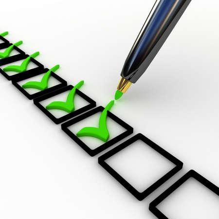 3d illustration of check mark over white background