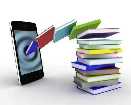 Books fly into your smartphone, 3D Stock Photo - 16948167