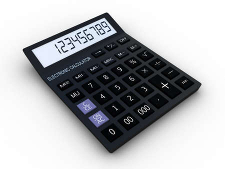 Black calculator 3D  Mathematics object  Isolated on white background Standard-Bild
