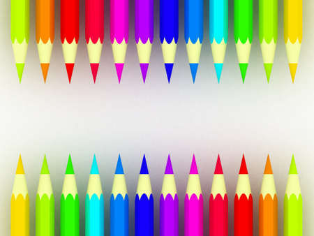 Many different colored pencils on white background Stock Photo - 17234482