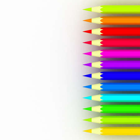 Many different colored pencils on white background Stock Photo - 17234483