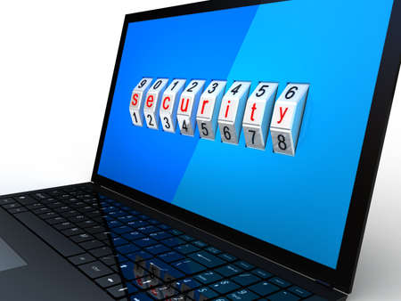 Safe laptop on white background, 3D images Stock Photo - 17234468