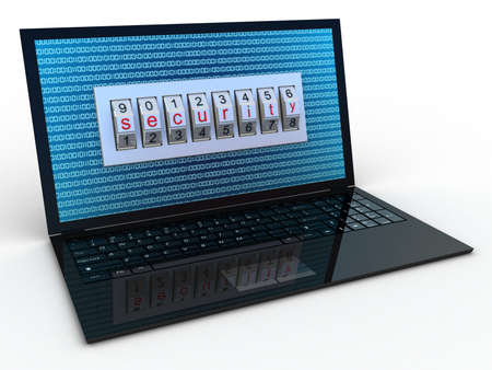 Safe laptop on white background, 3D images Stock Photo - 17234505