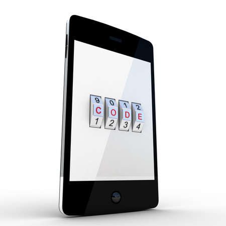 Safe smartphone on white background, 3D images Stock Photo - 17234420