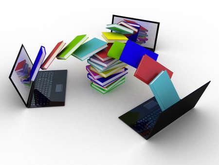 Boeken vliegen in uw laptop Stockfoto