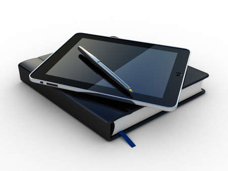 Notebook and pen and tablet on white background photo