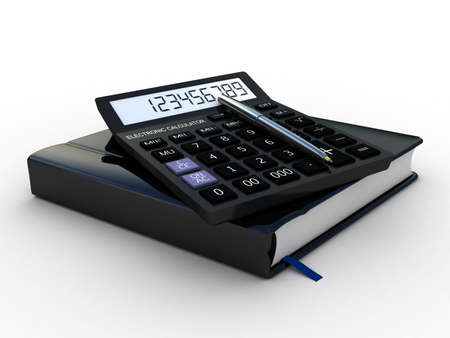 Black calculator 3D. Mathematics object. Isolated on white background photo