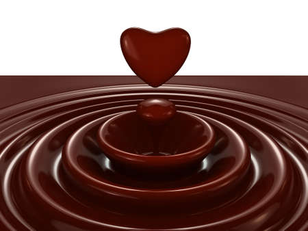 Dark chocolate heart symbol as a liquid drop background illustration Stock Illustration - 17234488