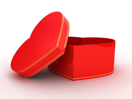 Gift open red box on white background, 3D image Stock Photo - 17234452