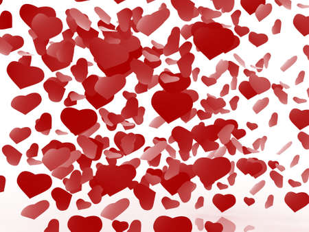 White background with hearts Stock Photo - 17234507