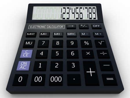 Black calculator 3D. Mathematics object. Isolated on white background Stock Photo - 17234489
