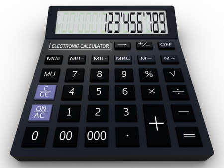 Black calculator 3D. Mathematics object. Isolated on white background Stock Photo - 17234489