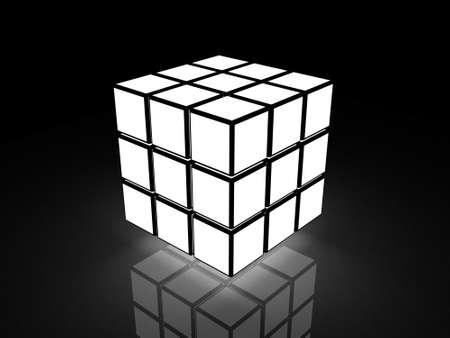cube with light images on a black background photo