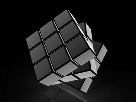 cube with light images on a black background Stock Photo - 17234458