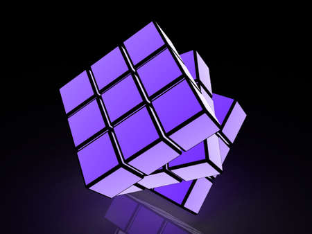 cube with light images on a black background Stock Photo - 17234470
