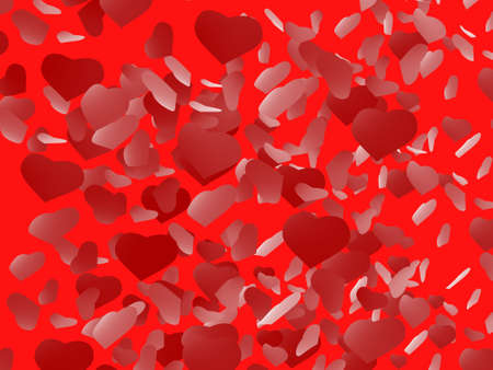 Red background with hearts Stock Photo - 17234486