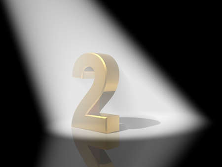 Number 2 from gold solid alphabet. Stock Photo - 17651984