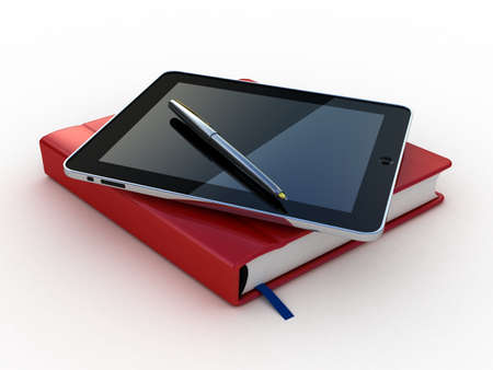 Notebook and pen and tablet on white background Imagens