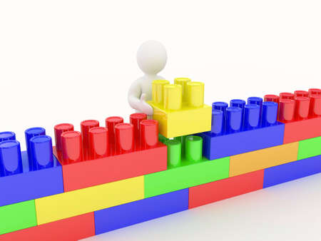 red building blocks: plastic construction and man on white background