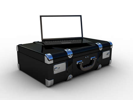 laptop in the suitcase, 3D Stock Photo - 17652021