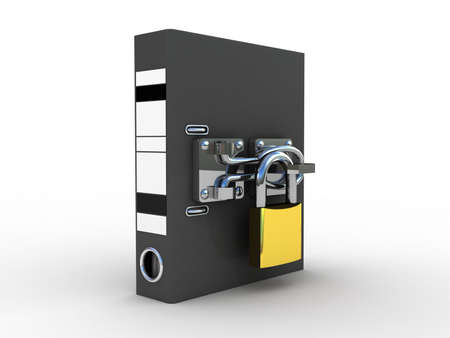 Folder for documents and the padlock with the inscription security, 3D photo