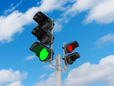 Traffic light isolated on sky background, 3D photo