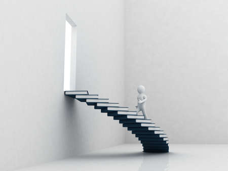 書籍、3 D の階段の歩行の人