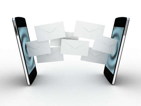 Smartphone and fly envelopes Stock Photo