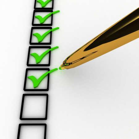 3d illustration of check mark over white background illustration