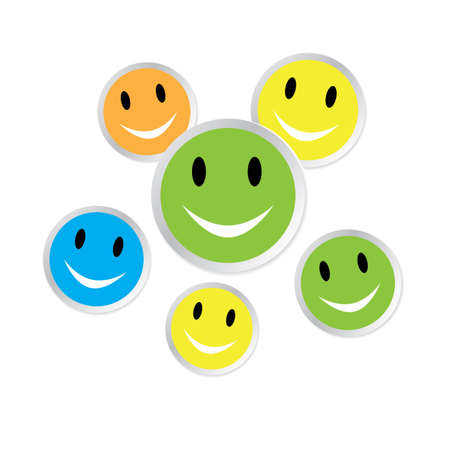 Color smiley faces with reflection on white Stock Vector - 18380855
