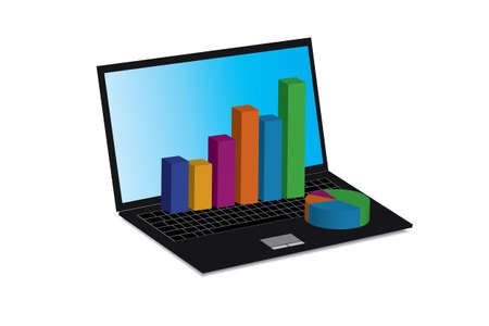 Laptop showing a spreadsheet and a paper with statistic charts, surrounded by some 3d charts Stock Vector - 18419454