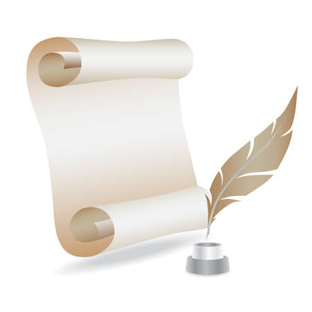 parchment scroll: paper with feather Stock Photo