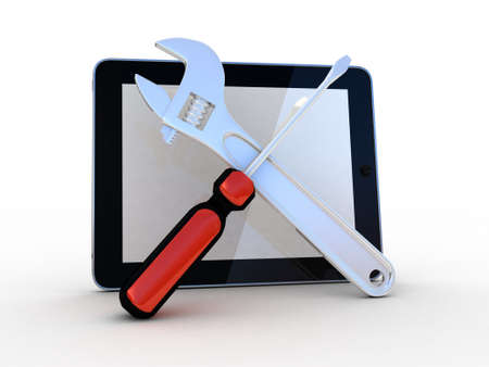 Tablet with tools on a white background, 3D photo