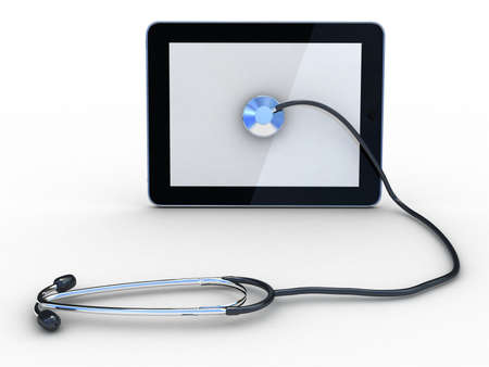 Stethoscope on black tablet, computer , 3D images photo