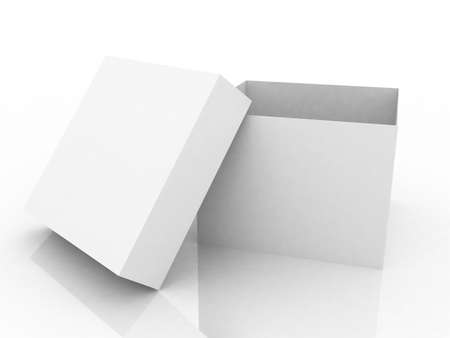 Gift open white box on white background, 3D image photo