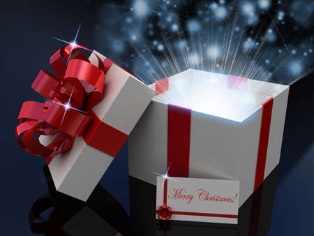 Gift  open white box, 3D images Stock Photo - 23129943