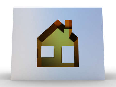 Abstract house on white background, 3D image. photo