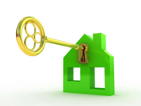 Fine 3d image of isolated key of dreams house. Stock Photo - 23129963