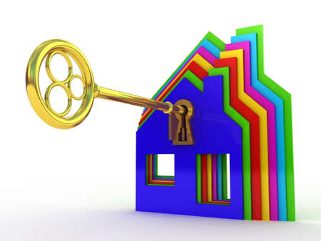 Fine 3d image of isolated key of dreams house. Stock Photo - 23129964