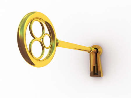 Golden key on a white background, 3D images Stock Photo - 23129965