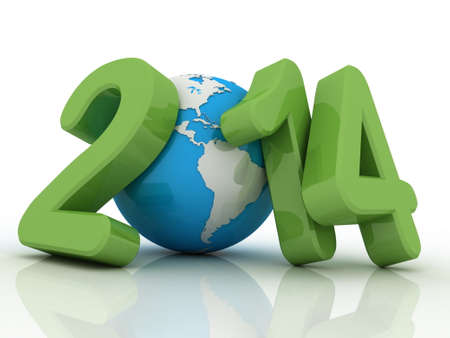 new year 2014 globe on white background photo