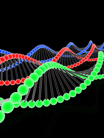 DNA, 3D images on black background Stock Photo