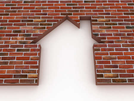briks: The brick wall and the house conceptually, 3D images