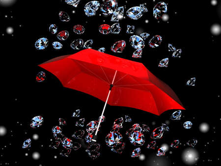 brilliants: Brilliants fall on an umbrella on a black background. Stock Photo